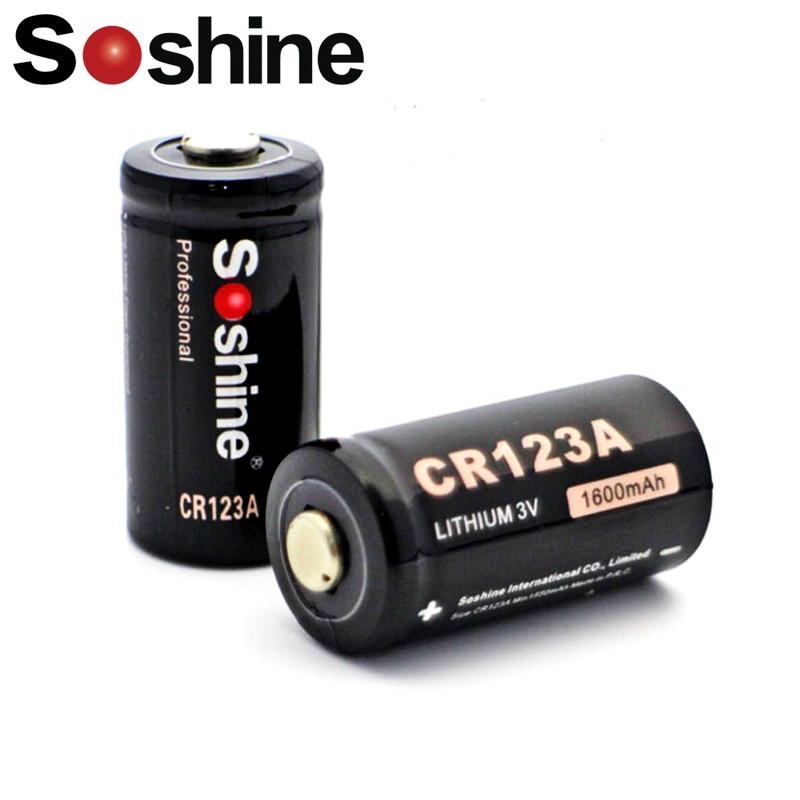 2 шт./лот Soshine 3,0 V CR123A Первичная литиевая батарея 1600 мАч RCR123A батарея