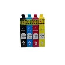 4 pièces Cartouche Dencre T0731N-0734 pour Epson stylus tx210 cx4900 tx410 C90 CX3900 CX3905 CX4905 CX5500 CX5600 CX5900 CX7310 Imprimante