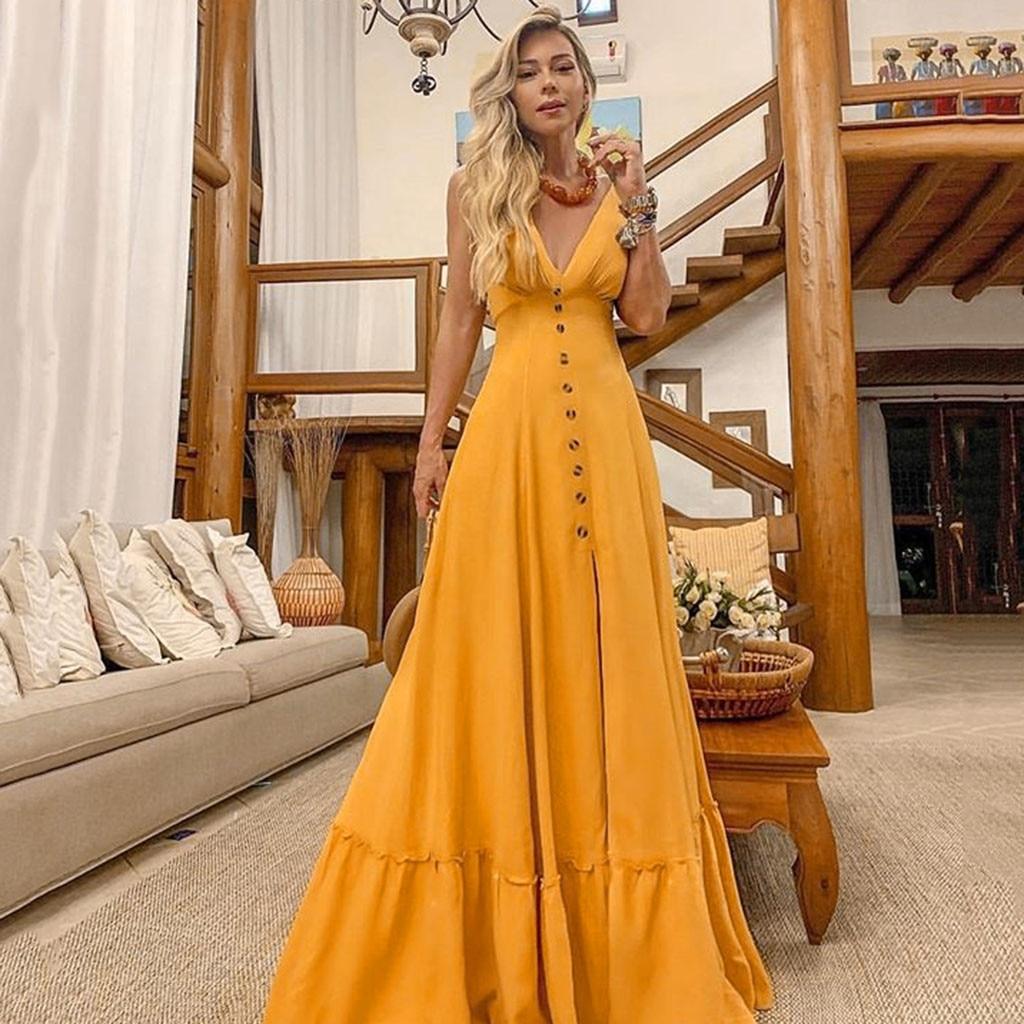 2019 yellow dresses Women Sexy Deep V lace summer dresses Sleeveless Neckless Long wedding elegant Dress robe femme 0.4