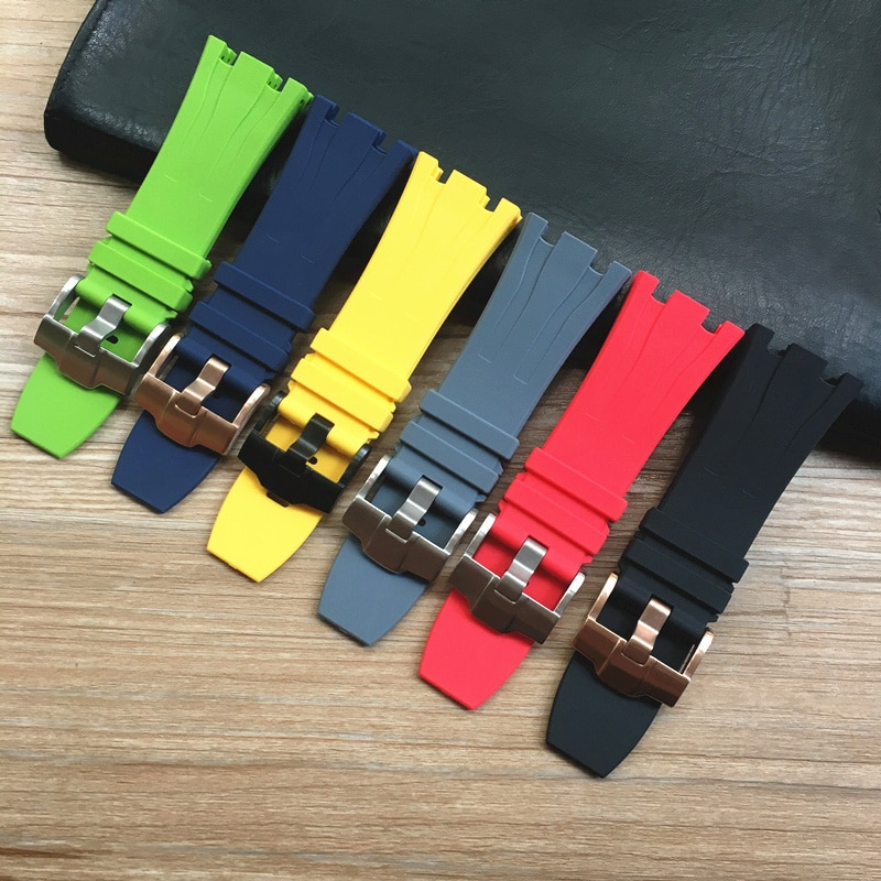 30mm Black Gray Green Red Yellow Blue Waterproof Soft Rubber Silicone Watchband Watch Strap For AP AP26400 44mm Case Bracelet