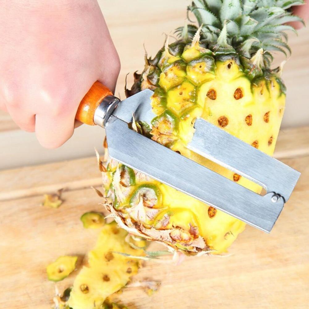 1 ud. Herramienta de corte de frutas de caña de azúcar de 22cm * 5 cm con mango de madera pelador de piña cortador de verduras herramienta de cuchillo de cocina 90gC