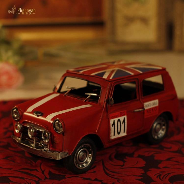 El Mini retro modelos Mini Cooper de hierro juguete de modelo de coche lata Vintage coche Decoración