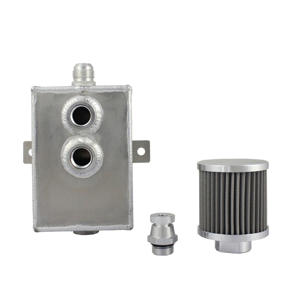 Nueva lata de retención de aceite de motor de aluminio de 2L, tanque + respirador y grifo de drenaje con pliegues