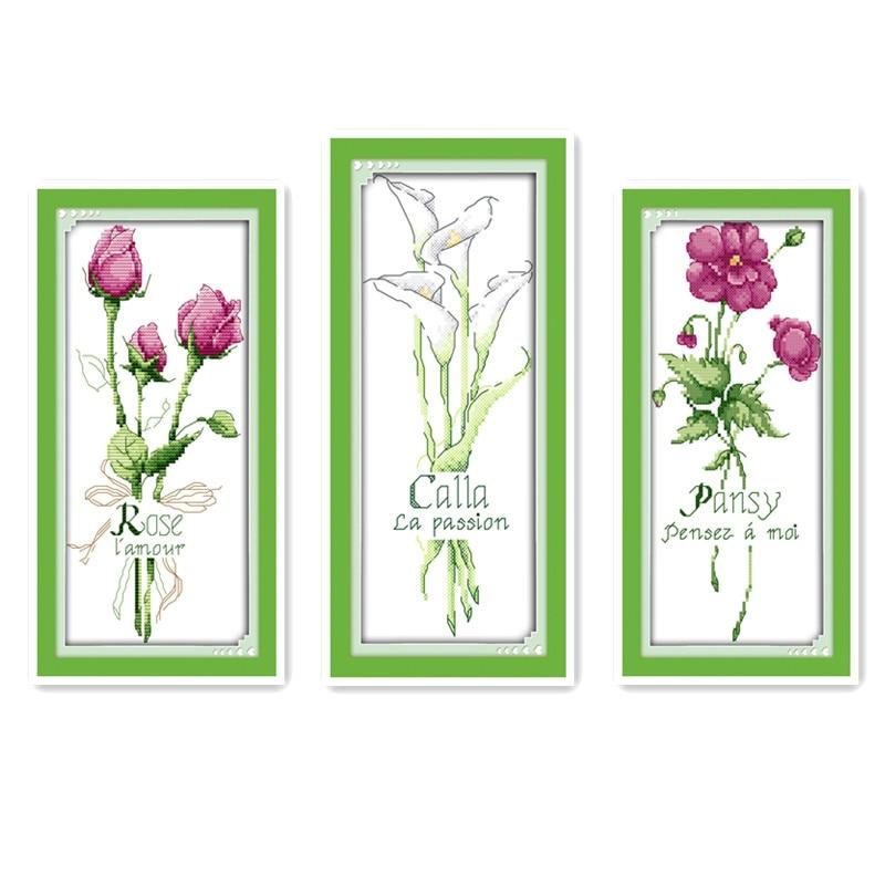Agulha de ponto cruz, linha, pano, desenhos conjunto completo bordado, planta flor série calla rosa pansy bordado feito à mão