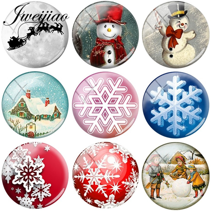 JWEIJIAO Snowman Snowflake Art Picture DIY Glass Cabochon & Dome Charms For Bracelets Necklace Earrings Christmas gift