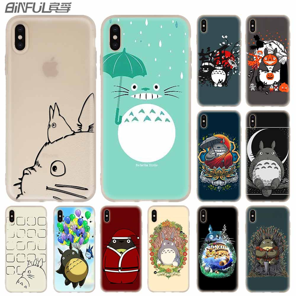Fundas de teléfono de silicona suave para iPhone 11 Pro X XS Max XR 6 6S 7 8 Plus 5 4S SE Totoro lindo Coque funda 11