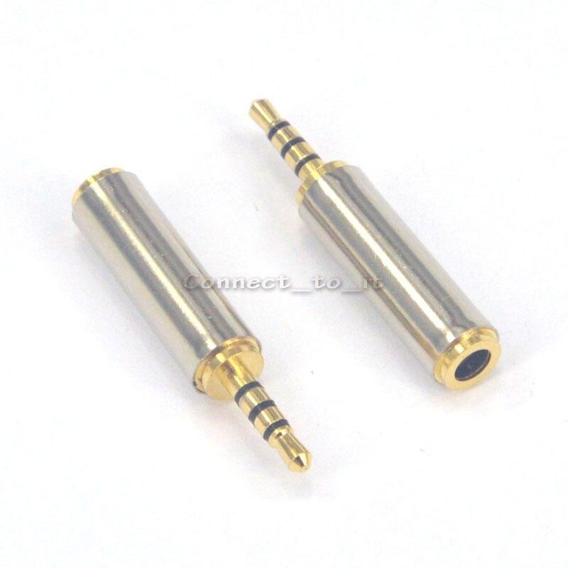 (50 unids/lote) conector adaptador estéreo de arena niquelada 3,5mm hembra a 2,5mm macho 4 pistas