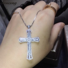 choucong Statement Cross Pendant AAAAA Cz Stone 925 Sterling silver Cross Pendant Necklace for Women Men Party Wedding jewelry