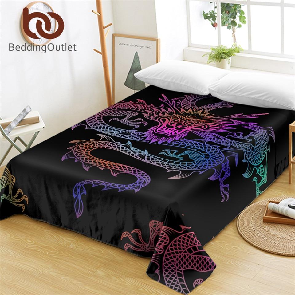 BeddingOutlet, sábanas de cama de dragón, Sábana plana estampada colorida para niños, colchas de cama negra, colchas propicias, Textiles para el hogar, Reina