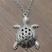 55x37mm grande tortue tortue cocu collier pendentif pour les femmes collier bijoux chaîne mode Antique argent couleur