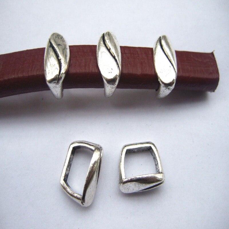 10 Uds. Espaciadores deslizantes ondulados 10x6mm Cable de piel de tipo regaliz accesorios de aleación de Zinc