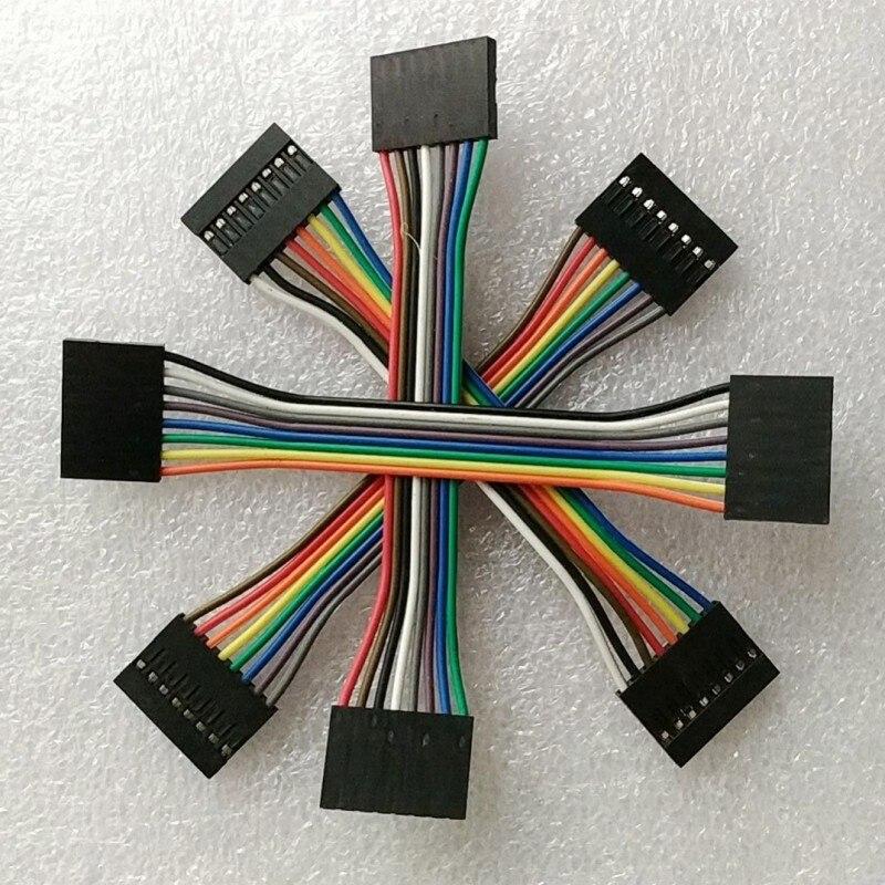 10 uds/8 pines 10cm 2,54mm hembra a hembra cable de puente cable Dupont
