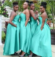 Мятно-Зеленые атласные платья свидетельницы 2019 без бретелек длиной до пола на заказ платья подружки невесты с карманами халат De Soiree дешево