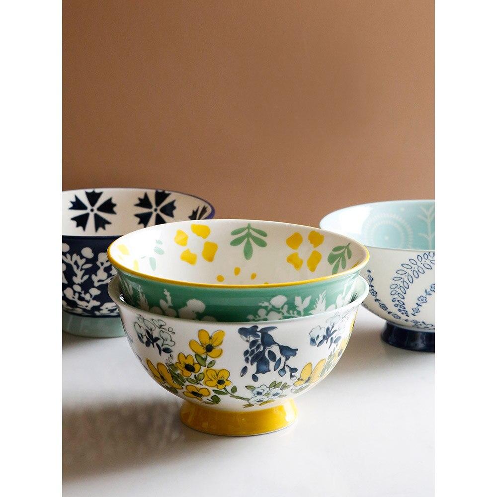 Grossas sob Vitrificado Tigela de Porcelana Polegada Cerâmica Tigelas Floral Impresso Macarrão Arroz Alta Azul Verde Amarelo Cozinha Talheres 6