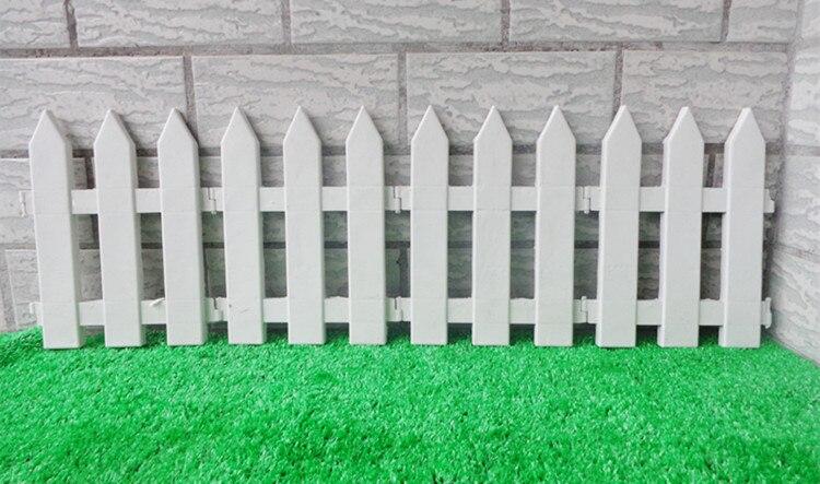 10 unids/lote blanco valla de plástico para jardín sharp esquina pequeña valla para árbol de Navidad