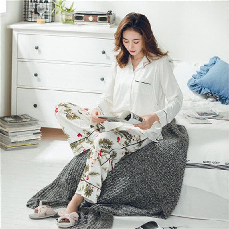 Cotton Nursing Pajamas Sets Pure white  Cardigan+Pattern Trousers Maternity Striped Sleepwear Turn-down Collar Pregnant Women