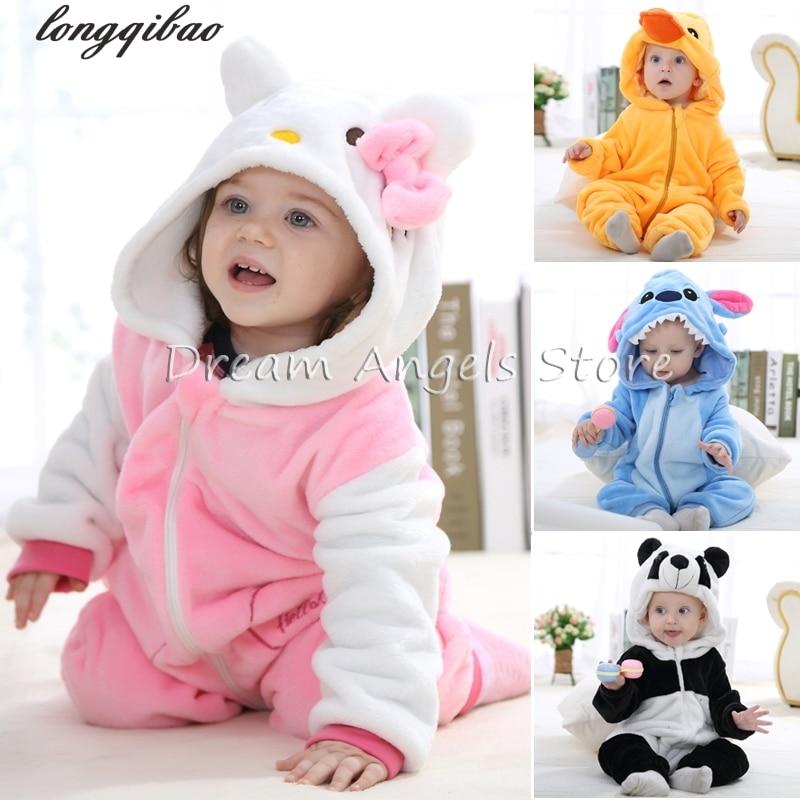 Baby Boys Girls Pajamas Autumn Winter Children Flannel  funny animal Stitch panda Pajamas Kid Onesie Sleepwear Crawling clothes