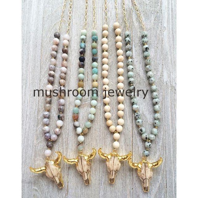 Rosary Chain NecklaceJaspers Amazonite Agates Arrowhead Pendant Buffalo Horn Skull Pendant Necklace