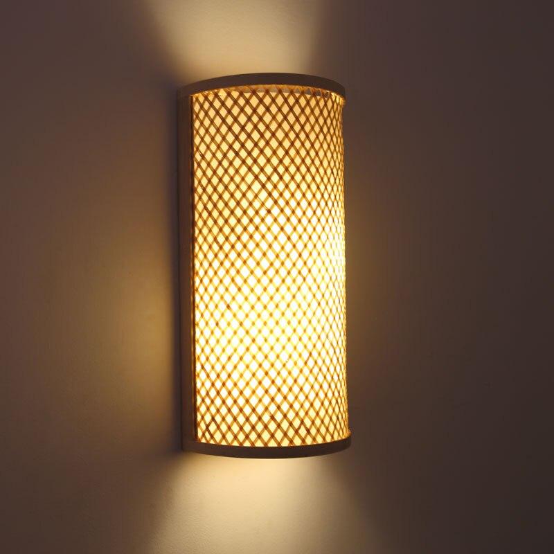 Lámpara de pared para cabecera de bambú tejida a mano, estilo japonés,...