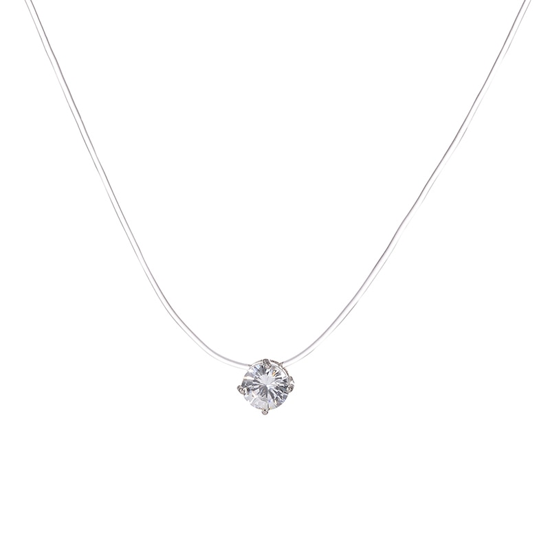Невидимое прозрачное женское ожерелье, новые модные ювелирные изделия, милый подарок, круглое сердце, звезда, треугольник, капля воды