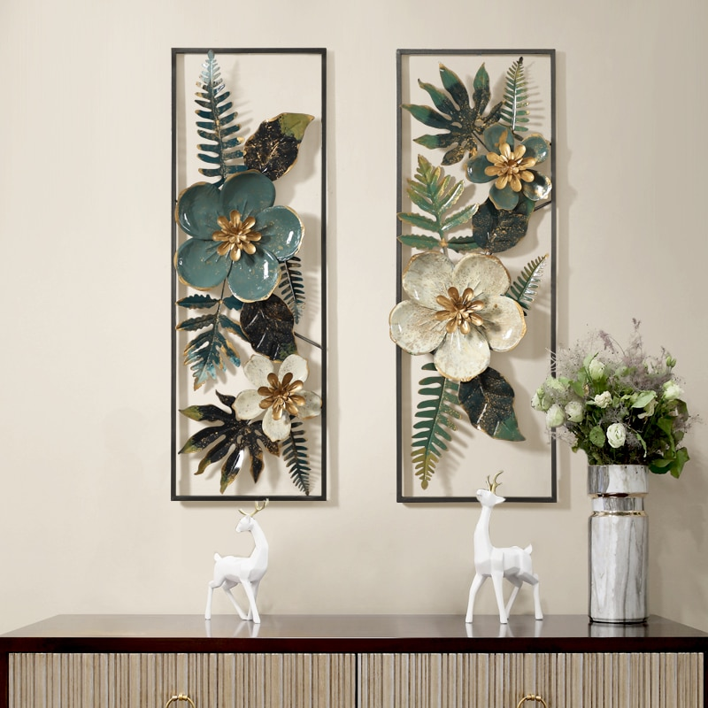 Mural de arte de pared de flores artificiales de hierro forjado estéreo 3D creativo americano, decoración de adornos colgantes para el hogar y la sala de estar