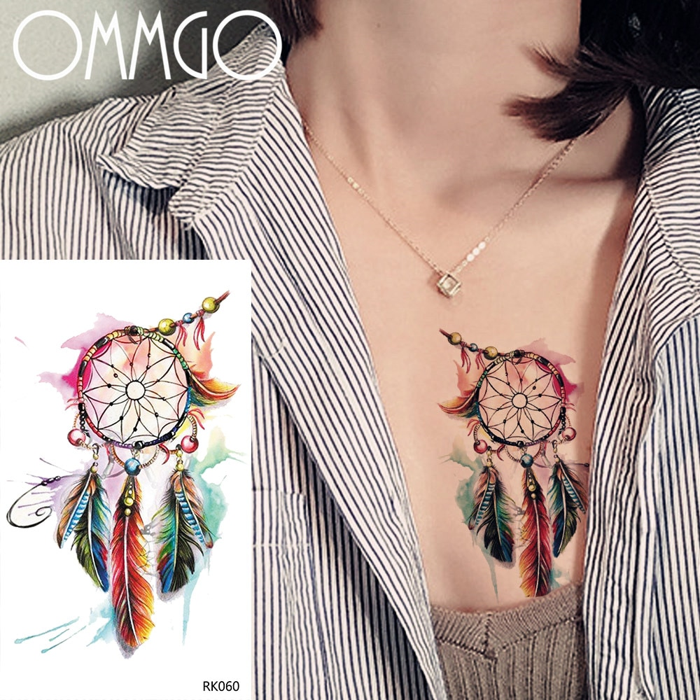 OMMGO colorido atrapasueños de plumas tatuajes temporales calcomanías suerte dije de tótem tatuajes falsos de tatuaje arte corporal impermeable