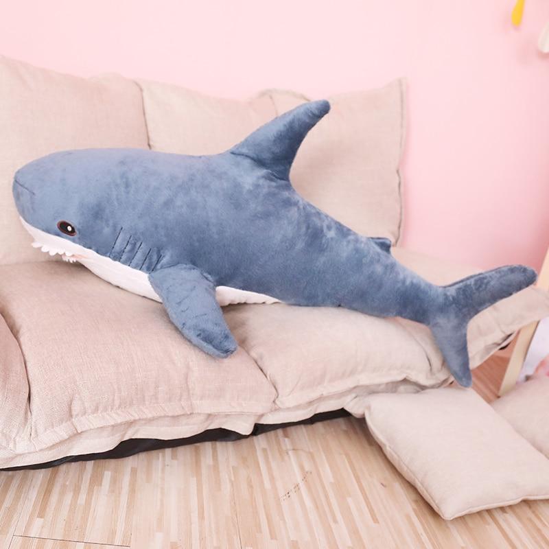 80/100cm tamaño grande divertido suave mordida tiburón peluche almohada apaciguar cojín para regalo para niños