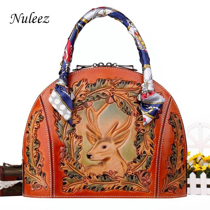 Nuleez جلد طبيعي حقيبة يد المرأة شل حقيبة Vintage نحت اليد ثلاثية الأبعاد عيد الميلاد الغزلان الفاخرة هدية الكريسماس