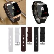 Smart Watch Strap Silicone Wrist Band Strap Metal Buckle Bracelet Replacement For DZ09 Smart Watch-U1JA