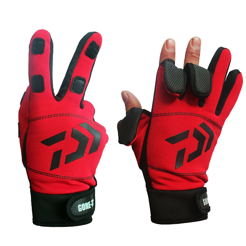 Drop Shipping Daiwa Winter Warm Fishing Gloves Cotton 3 Fingers Cut Waterproof Anti-slip Gloves For Outdoor Riding Hiking Sports