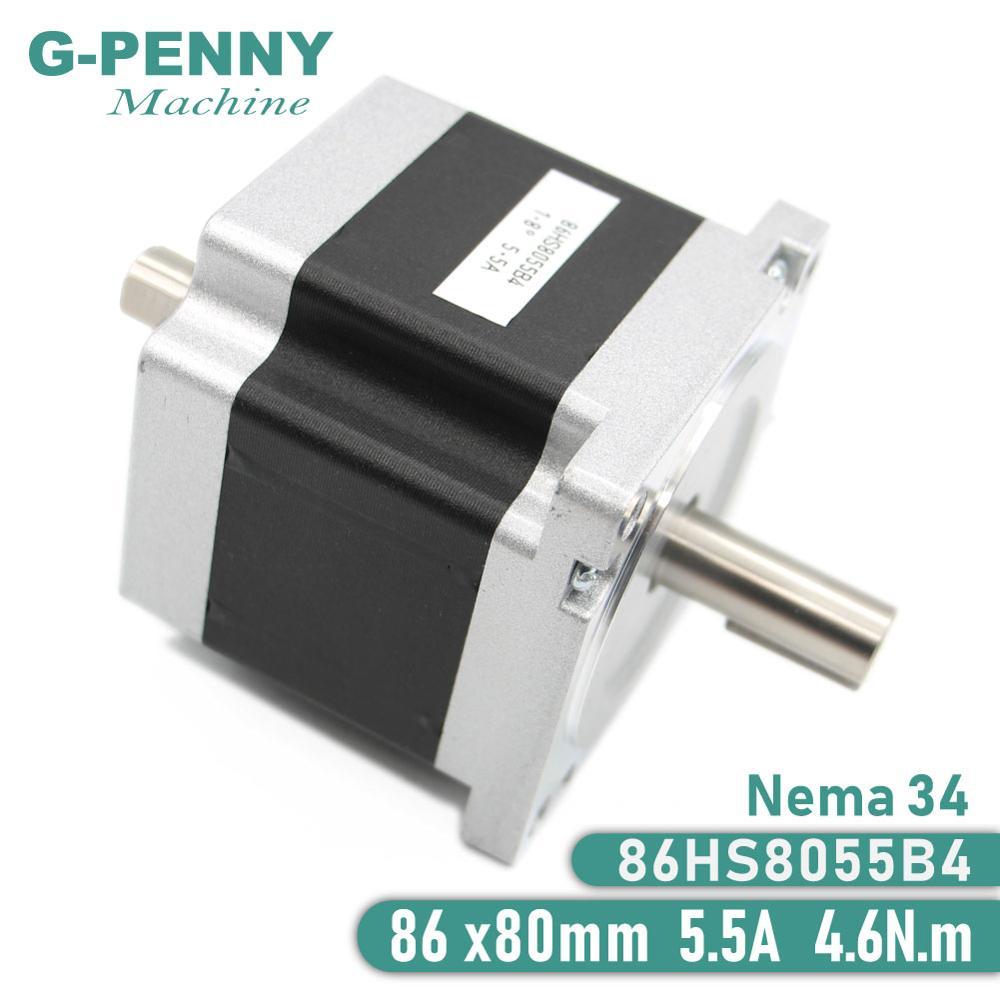 محرك متدرج NEMA 34 ، 86x80 مللي متر ، Nema34 CNC ، عمود مزدوج ، 5.5A 4.6Nm D = 14 مللي متر 1.8 Deg. لماكينة عمل الخشب CNC
