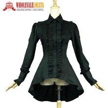 Romantique victorien édouardien gothique Steampunk vêtements Punk à volants femmes noir sorcière Blouse chemise haute