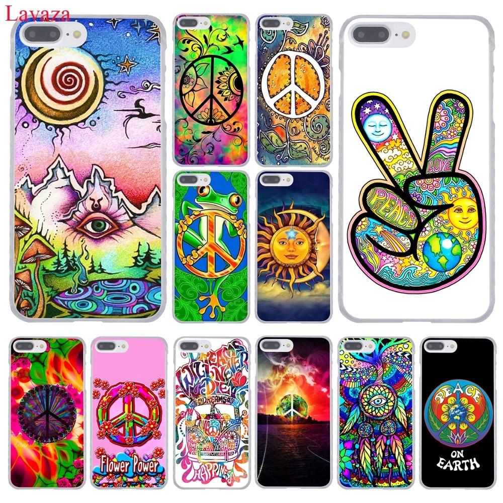 Lavaza hippie hippie psicodélico arte paz dura caso de telefone para o iphone xr xs x 11 pro max 10 7 8 6 s 5 5S se 4S 4 capa