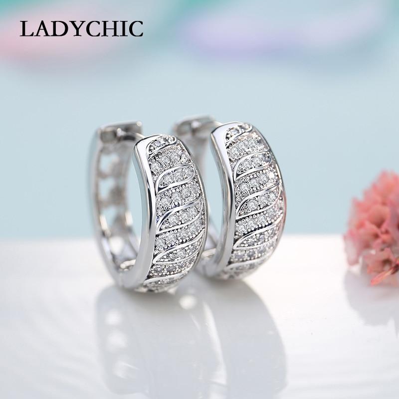 LADYCHIC Elegant Women Round Earrings Paved Tiny Zirconia Stones Luxury Ladies Circle Hoop Earring Wedding Jewelry LE1012