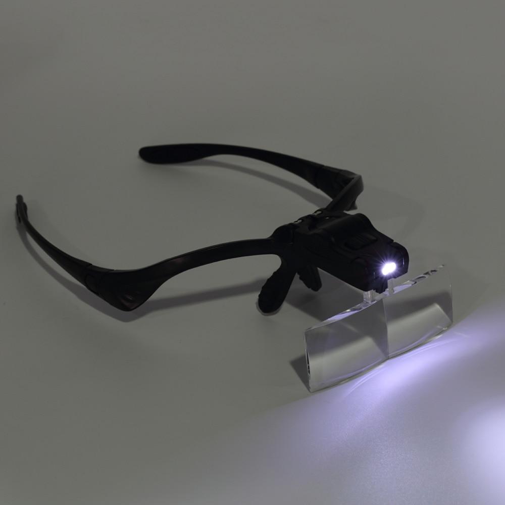 Lupa com Led Lente Ajustável Lupa Cabeça Óculos Joalheiro Reparação Relógio 3.5x