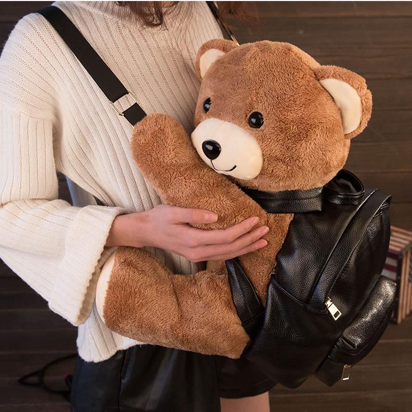 Preciosa mochila de cuero de moda para mujer/niña de invierno, mochila de oso de peluche, mochila escolar, pequeña mochila de ocio de marca famosa