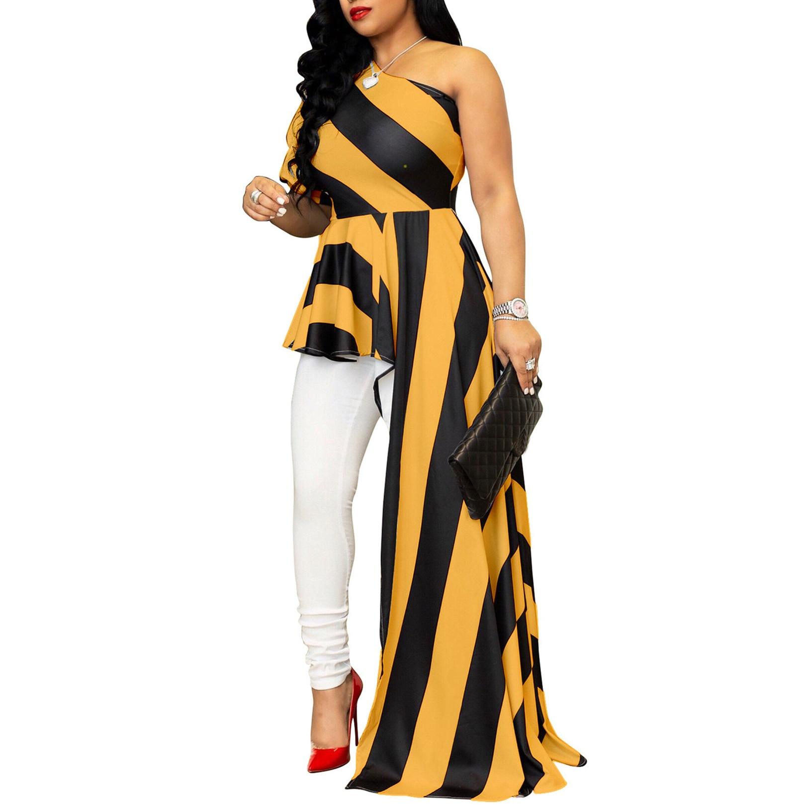 striped asymmetric tunic tee with pockets Women Summer Stripe Tunic High Low  Cold Shoulder Top Slash Neck Puff Sleeve Asymmetric Hem Slim Fit Blouse