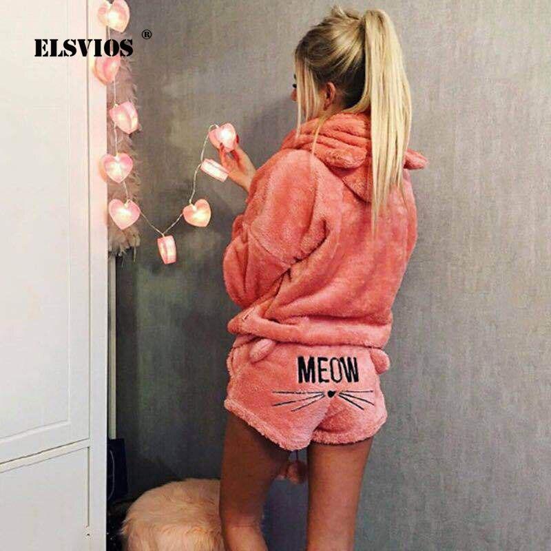 ELSVIOS, 16 colores, pantalones cortos con capucha de terciopelo Coral para mujer, conjunto de dos piezas, pijamas de Otoño Invierno, suaves, cálidos, lindos trajes con patrón de gato Meow 5XL