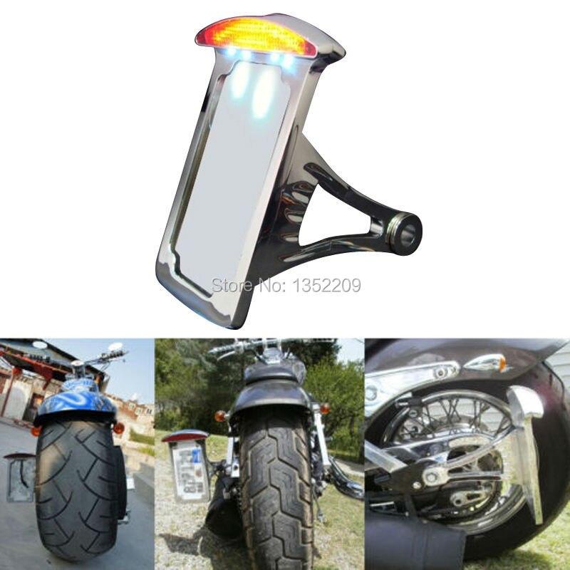 Luz LED de freno trasero cromada para motocicleta, montaje lateral para matrícula, compatible con HD Harley Softail Custom