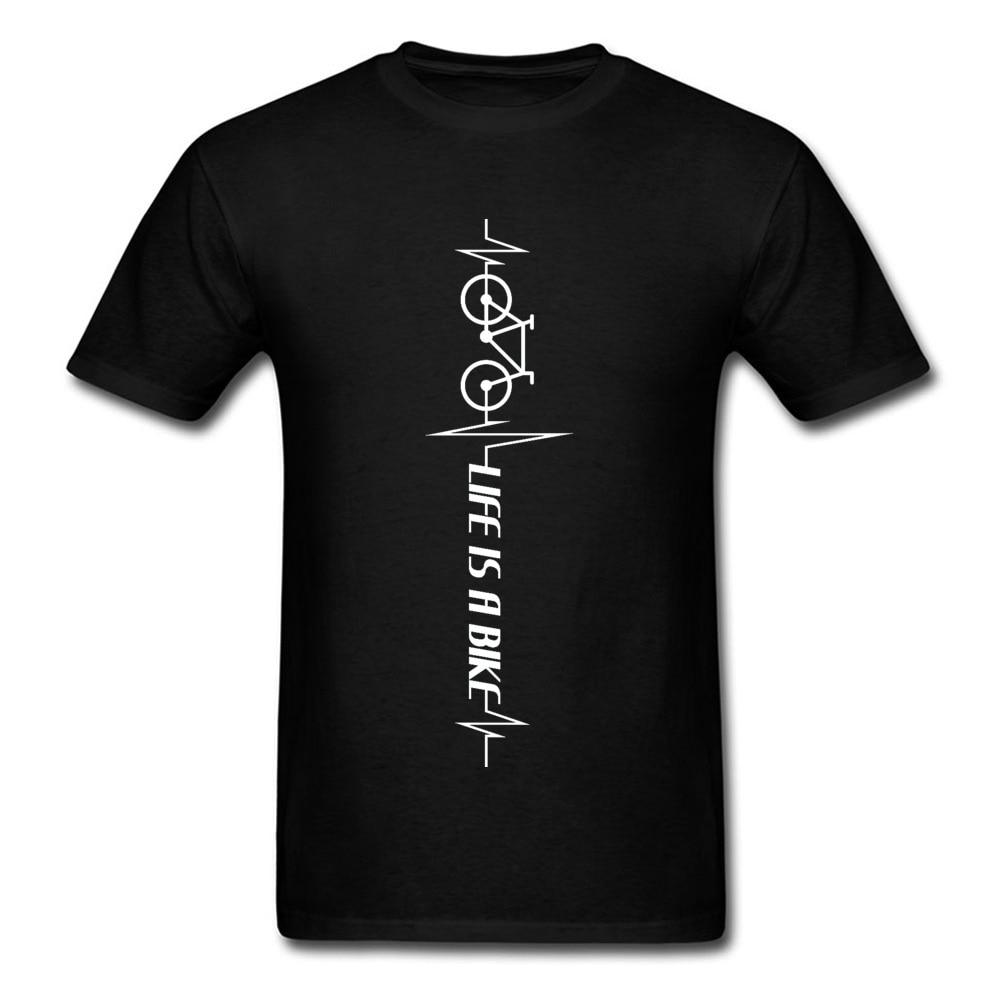 Life Is A Bike Heartbeat bicicleta ciclo hombres Tops camiseta ECG Rhythm Hrrest Biker camiseta negro verano otoño moda Tops y camisetas