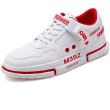 Leather Thick Sole Sneakers Men Skateboarding Shoes Flat Male Walking Shoes Sneaker Men Flats Shoes White Designer Footwear 2019