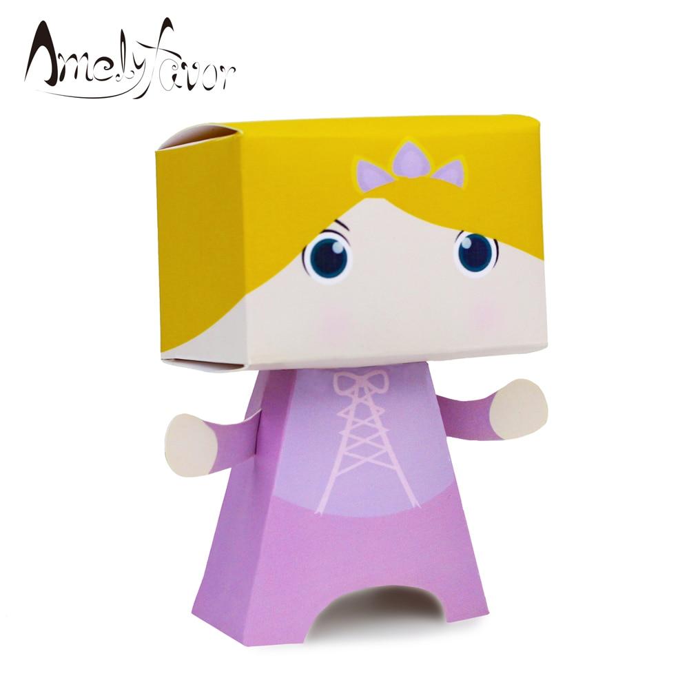 Caja de dulces Rapunzel caja de recuerdos de princesa caja de recuerdos para fiesta regalo de niña caja de suministros de fiesta de cumpleaños decoración evento Big Head Box