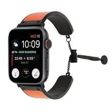 Lederen band voor Apple horloge band 4 44mm 40mm vrouw/man Rvs link armband iwatch Serie 4 3 2 1 horloge Accessoires