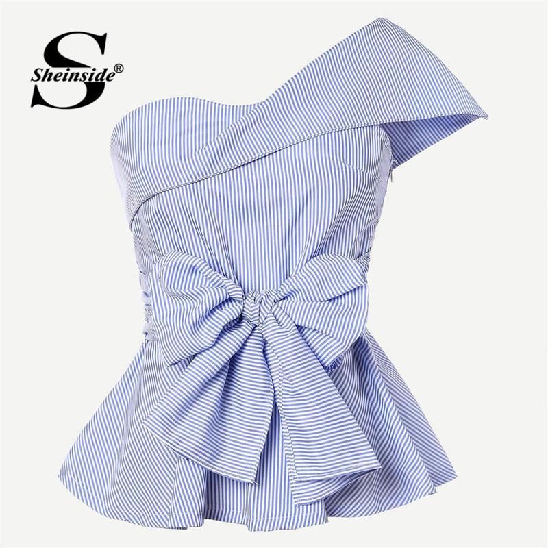 Sheinside, blusa de verano con lazo elegante en la parte delantera, blusa de mujer plegable con un hombro, Top de péplum 2019, tops y blusas para mujer a rayas azules delgadas