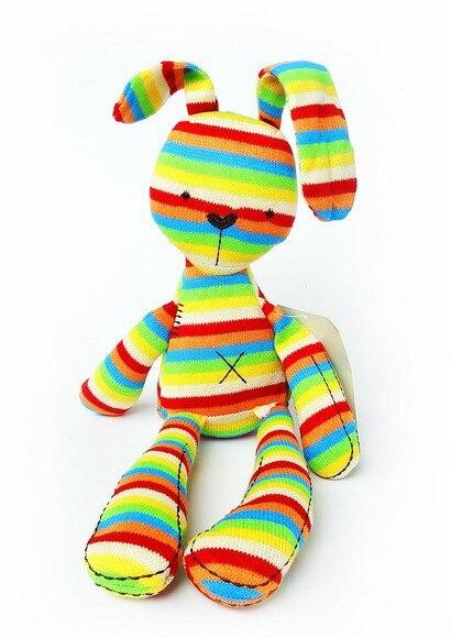 Ins 42cm Sleep Rainbow Rabbit apaciguar bebé Comercio exterior la muñeca de peluche única Original Animal de peluche para niños mejores regalos