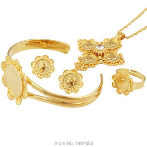Newest  Ethiopian 5pcs Coin Cross Wedding Jewelry Sets 22K Gold Color Rhinestone Bridal Romantic Habesha Jewelry for Women
