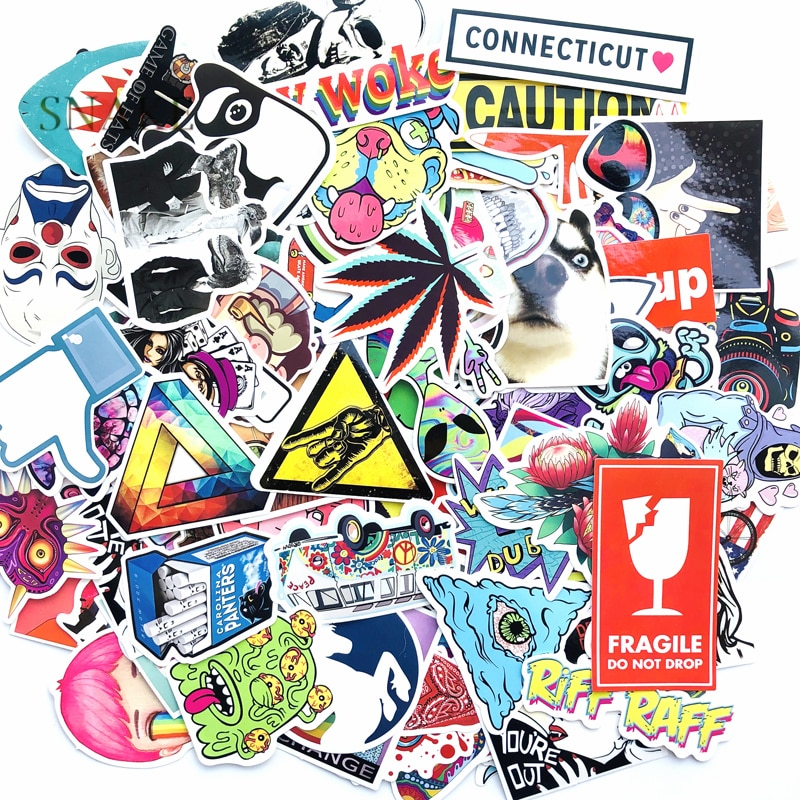 128pcs/pack Laptop Stickers ET Cartoon Graffiti Stickers For Car Moto Suitcase Waterproof Cool Car Stickers Skateboard Sticker