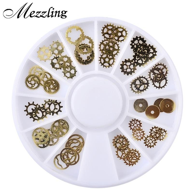 Mezzling 1 Box Ultra-thin Steam Punk Parts Style Nail Studs 3D Nail Art Decorations Wheel Metal Manicure DIY Nail Tips Art