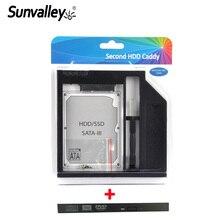 Sunvalley marque 9mm plastique 2nd HDD Caddy SATA 3.0 SSD HDD boîtier pour ordinateur portable 9/9. 5mm DVD/cd-rom Optibay avec panneau de lunette