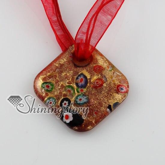 Collares de cristal de murano hechos a mano de millefiori con purpurina rombos colgantes joyería de moda barata de colores joyería de moda barata